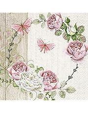 20 servetten vlinders en rozen roze bloemen vlinders zomer