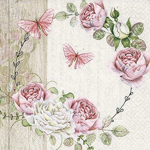 20 Servietten Schmetterlinge und Rosen pink Blumen Butterflys Sommer