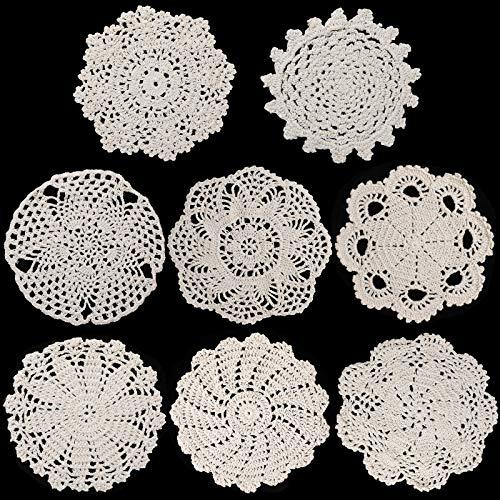 8 Piezas Tapetes de Encaje de Algodón de 6 a 8 Pulgadas Posavasos de Encaje Hechos a Mano de Ganchillo Mantel Individual Redondo de Encaje Decoraciones de Tapetes Rústicos de Mesa (Beige)