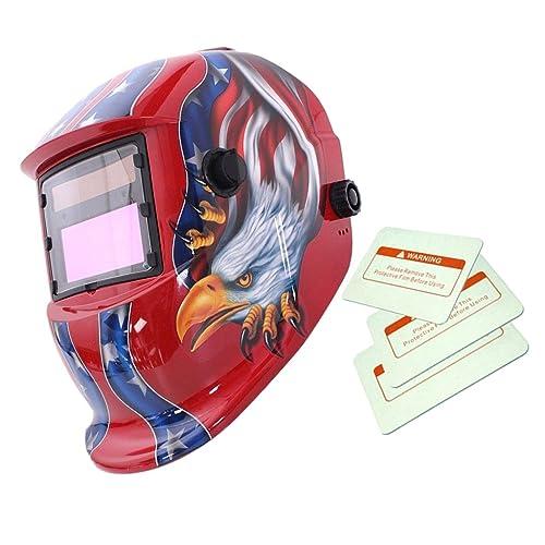 Máscara Automático Soldadura de Oscurecimiento Solar Casco Arco Tig Mig Soldador Patrón de Eagle - Roja