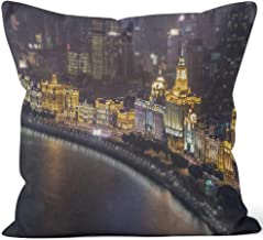 Nine City The Bund in Shanghai at Night Throw Pillow Cover,HD Printing for Sofa Couch Car Bedroom Living Room Decor,20