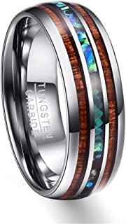 8mm Hawaiian Koa Wood and Abalone Shell Tungsten Carbide Rings Wedding Bands for Men Comfort Fit Size 5-14