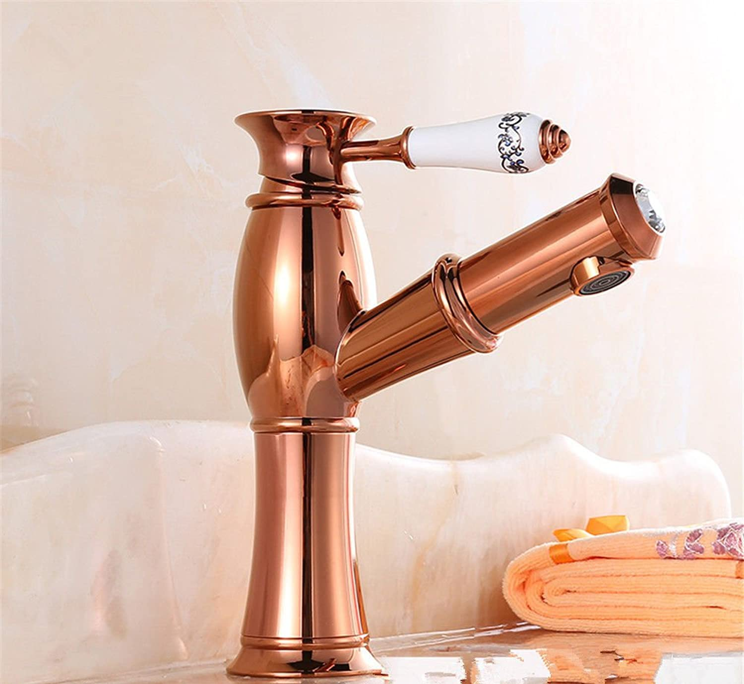 LHbox Basin Mixer Tap Bathroom Sink Faucet pink gold Euro-copper basin mixer basin faucet hot and cold sepia wash it scalable to pull, pink gold bluee enamel
