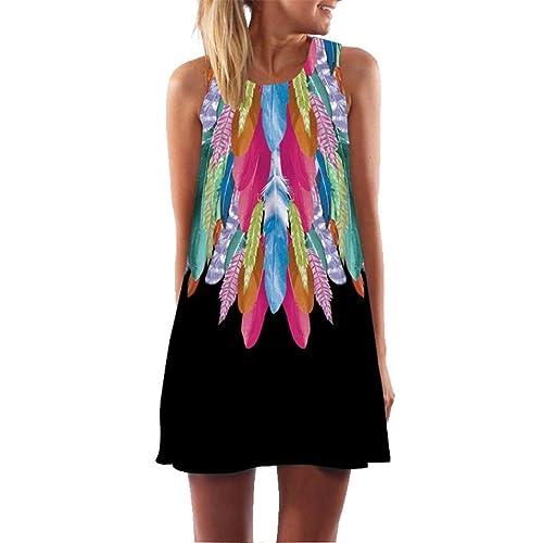 22e3d40b2d0f7 Women Plus Size Dress Vintage Boho Summer Sleeveless Holiday Beach Printed  Short Mini Dress