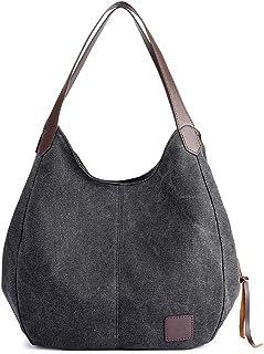 Huttoly Canvas Handtasche Fashion Damen Schultertasche Multi-Beutel Tasche Henkeltaschen Shopper, Schwarz
