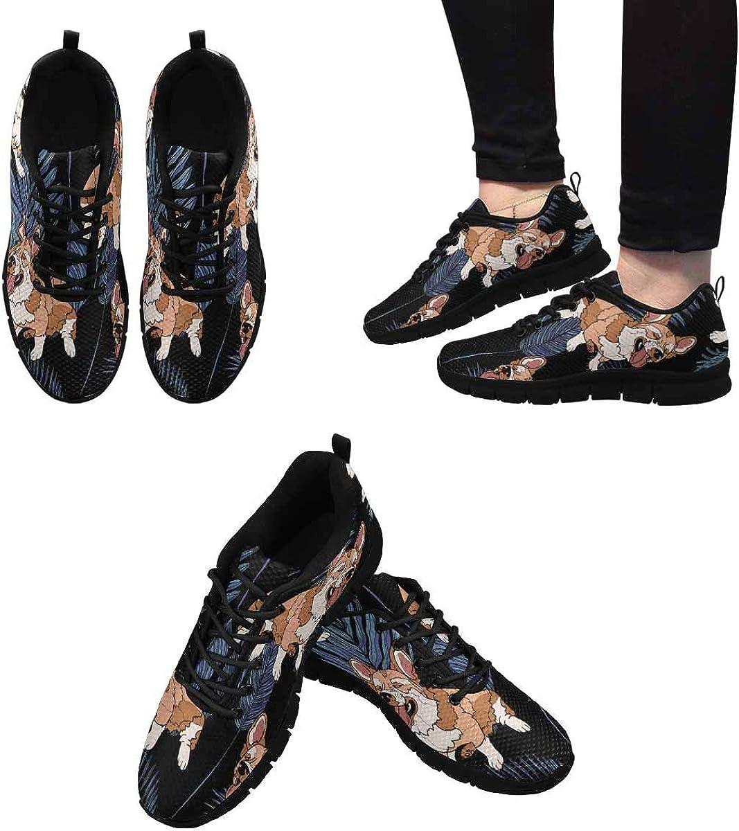 INTERESTPRINT Corgi Dog Women's Lace Up Breathable Non Slip Sneaker