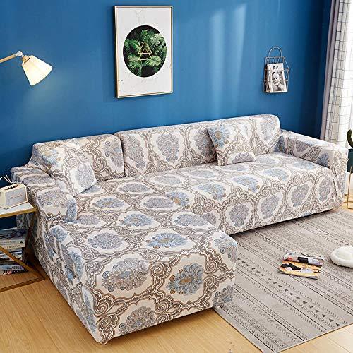 Funda elástica para sofá Cubierta Fundas de sofá de 2 plazas con Estampado de celosía en Forma de L, Fundas elásticas Antipolvo Protectoras de sofá BB 145-185cm 1 PCS