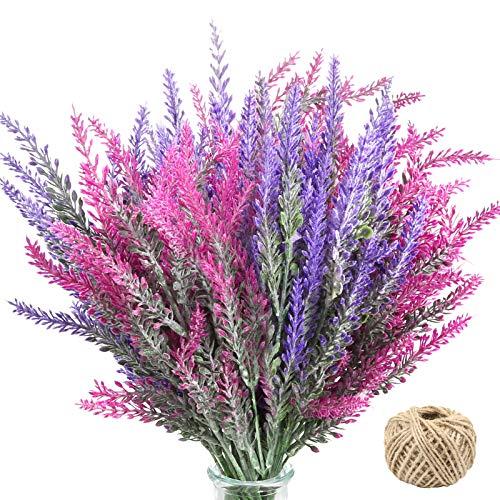 Omldggr Künstlicher Lavendel Blumenstrauß 8 Stück Beflockte Plastik Lavendelpflanzen mit Hanfseil für Home Office Party Hochzeit Garten Patio Dekoration (Mischfarbe)