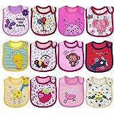 Yafane Baby Lätzchen Wasserdicht Weich 12er Babylätzchen aus Baumwolle mit Klettverschluss für...