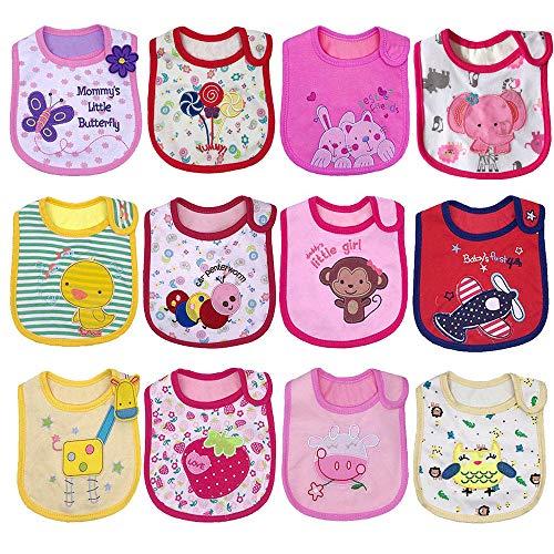 Yafane Baby Lätzchen Wasserdicht Weich 12er Babylätzchen aus Baumwolle mit Klettverschluss für Baby Mädchen Kleinkinder