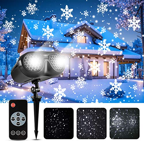 Christmas Snowflake Projector Light, GreenClick Double Heads Rotating LED Snowfall Projector Lights with Remote Control Outdoor Waterproof Landscape Lighting for Holiday Xmas Halloween Decoration