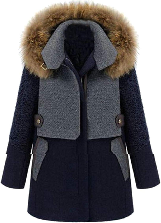 LKCENCA Women Winter Warm Fur Collar Hoodies Woolen Blend Parka Overcoat