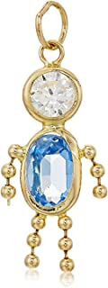 10K Gold, AAA Cubic Zirconia and Simulated Birthstone Babies Charm