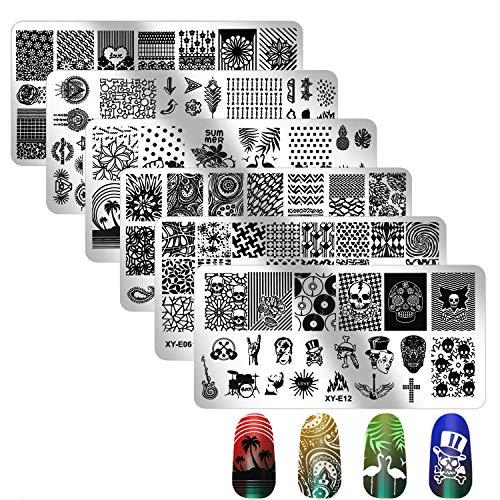 6Pcs Nail Stamping Plate, Mwoot Nail Art Plates Nagelstempel Maniküre Tool Kit, Nagel Stamping Schablonen