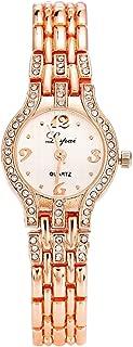 Lvpai Women's Analog Quartz Bracelet Wrist Watch with Alloy Band Crystals Bezel
