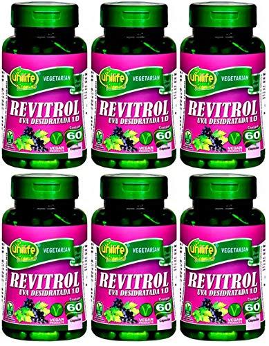 Resveratrol Revitrol Uva Desidratada Vegano 500 mg Unilife 60 Cápsulas Kit 6 Unidades