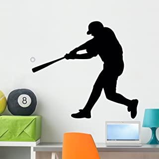 Baseball Silhouette Wall Decal by Wallmonkeys Peel and Stick Graphic (36 in W x 32 in H) WM47004