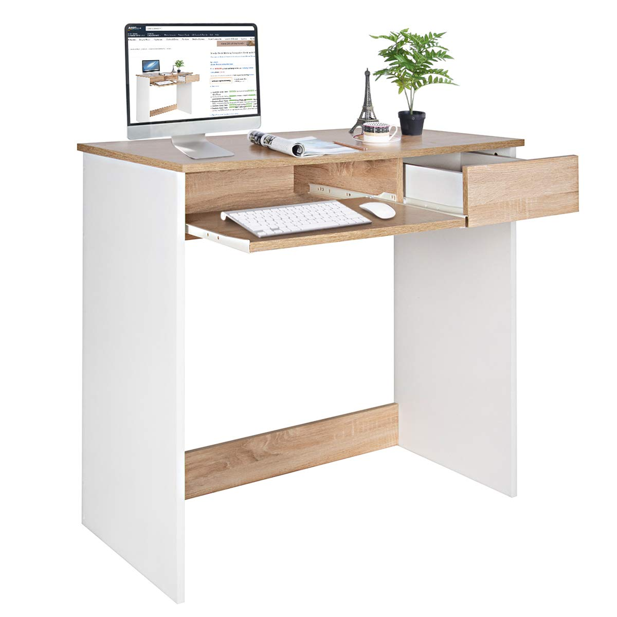 Coavas Computer Desk Study Table Wooden Writing Desk with Cupboard Drawers  and Keyboard Tray Desktop PC Table for Adults