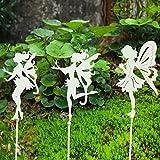 Sungmor Dekorative Gartenstecker – Metall-Feenstab Ornamente – für drinnen und draußen, Pflanzenstütze, Terrasse, Balkon, Rasen, Landschaftsgestaltung, Dekoration, 3 Stück, Vintage-Weiß, 72 cm hoch