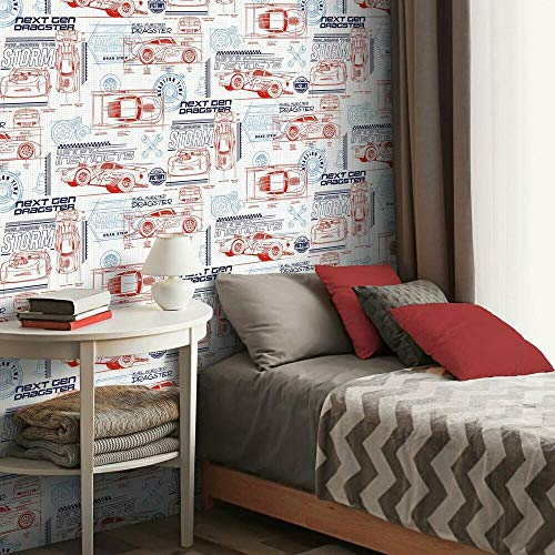 RoomMates Disney And Pixar Cars Schematic Red & White Peel and Stick Wallpaper