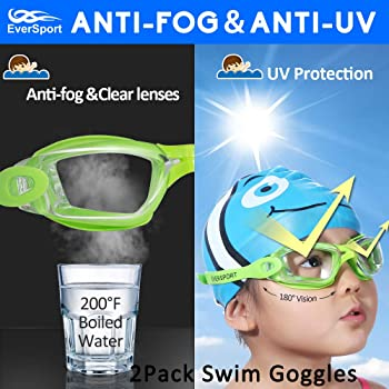 EverSport Kids Swim Goggles, Pack of 2 Kids Swimming Goggles, Crystal Clear Swimming Goggles for Children and Teens, ...