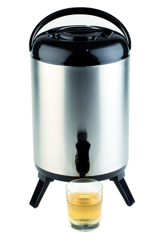 APS Dispensador isotérmico - contenedor aislado de alta calidad para bebidas calientes y frías de acero inoxidable, 24 x 42 cm, capacidad: 9,5 L.
