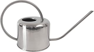 JOCO Home Small Watering Can Indoor Outdoor Metal Silver Water Plants Mini Watering Device Plant Waterer Succulent Bonsai Best Silver Watering Can Modern Design Cute for Kids Room Or Decoration