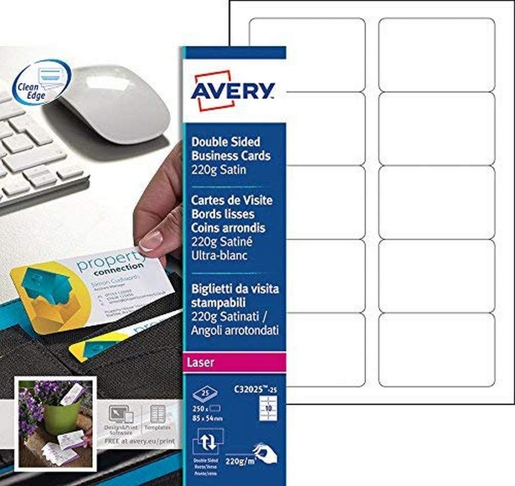 Avery Bombing Japan Maker New free shipping Rounded Laser Business Card of Pack 25 - White
