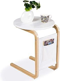 COSTWAY Table d'Appoint avec Plateau de Table Rond et Sac de Rangement pour Manger, Écrire, Lire, Parfait pour Le Salon, S...