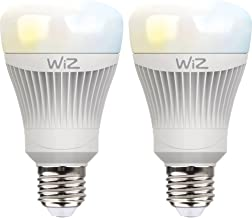 WiZ Smart LED Bulbs 2 Pack White Bulb A Bulb WiFi Switchable Dimmable 64000 White Shades Compatible with Amazon Alexa and ...