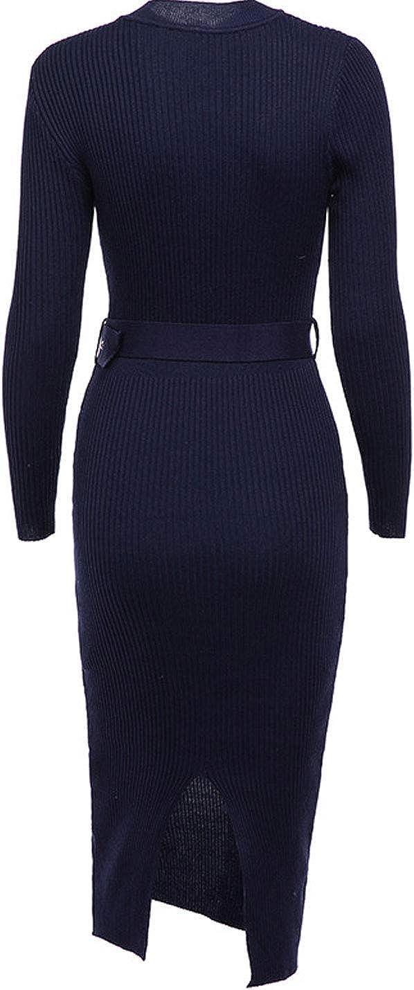 Flygo Women's Crew Neck Long Sleeve Knitted Sweater Bodycon Dress