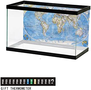 Khaki home Fish Tank Backdrop World Map,Colored Clouds in Sky,Aquarium Background, Thermometer Sticker