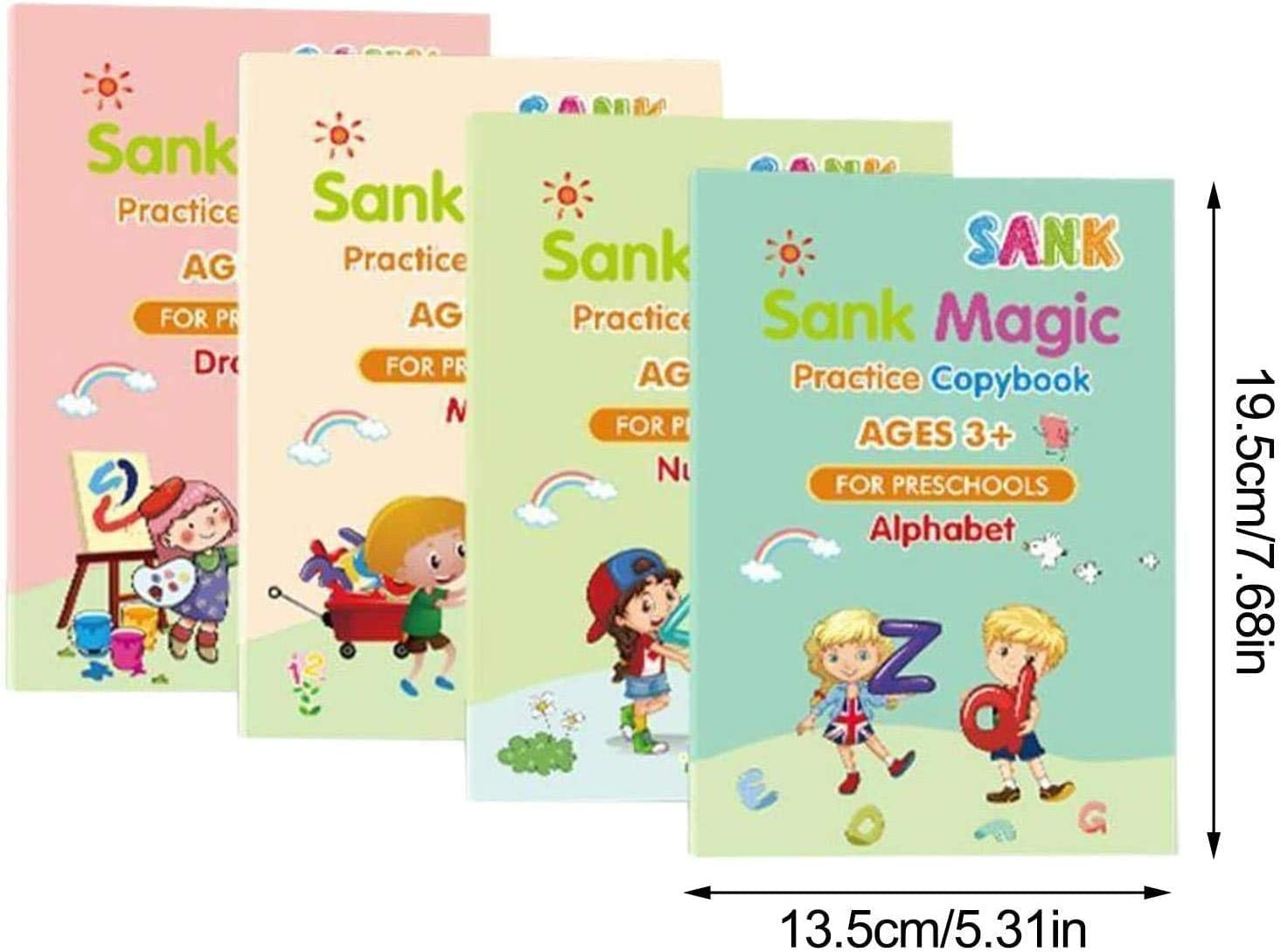 Style 2 Magic Practice Copybook English,Magic Calligraphy That Can Be Reused Magic Handwriting Copybook Tracing Book Set for Kid Calligraphic Letter Writing Drawing Mathematics with Pen.