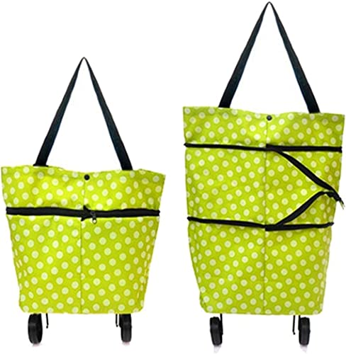 Foldable Shopping Trolley Bag with Wheels Folding Travel Luggage Bag Vegetable Grocery Shopping Trolley Carry Bag Multicolored