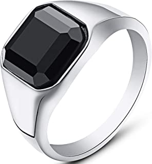 Stainless Steel Black Onyx Signet Style Ring