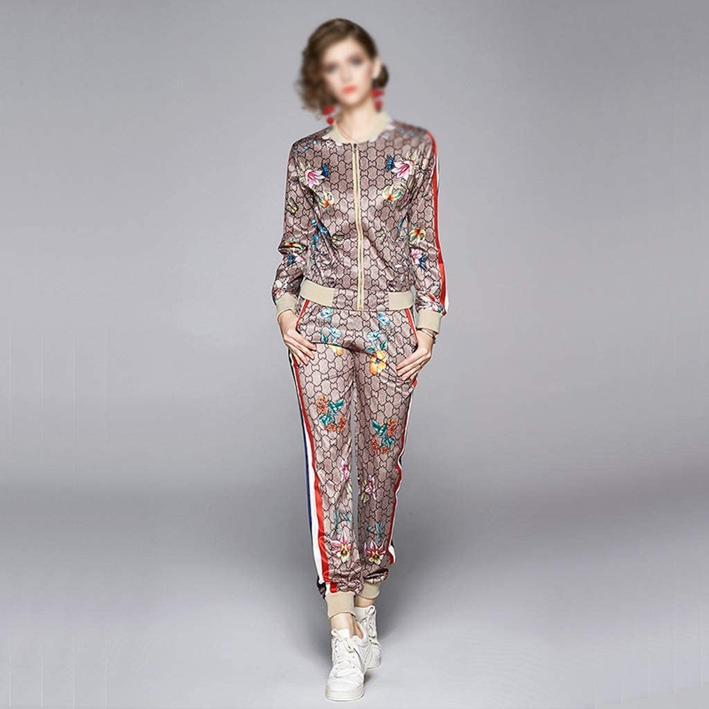 SGZYJ Sports and Leisure Suit Autumn Long Sleeve Coat and Leggings Printed Two-Piece Set (Size : X-Large)