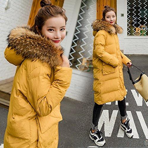 Xuanku Vêtements en Coton pour Femmes Vestes Hiver Plumes Cheveux Femme Manteau en Coton épais Vêtements Chauds Même Cap Pain