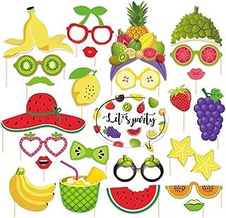 Tutti Frutti Photo Booth Props(25CT),Watermelon,Strawberry,Lemon,Grapefruit Photo Booth Props with Stick for Tutti Frutti/Luau/Tiki/Tropical/Hawaiian Party Supplies