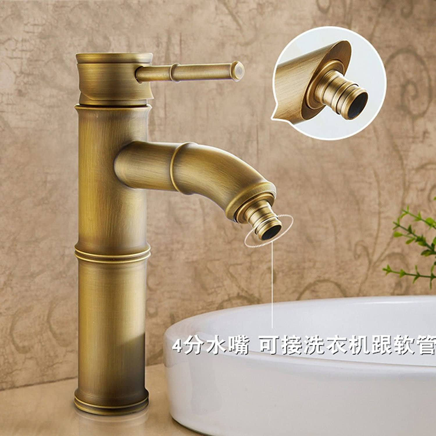Lpophy Bathroom Sink Mixer Taps Faucet Bath Waterfall Cold and Hot Water Tap for Washroom Bathroom and Kitchen Copper Antique Single Hole Hot and Cold D