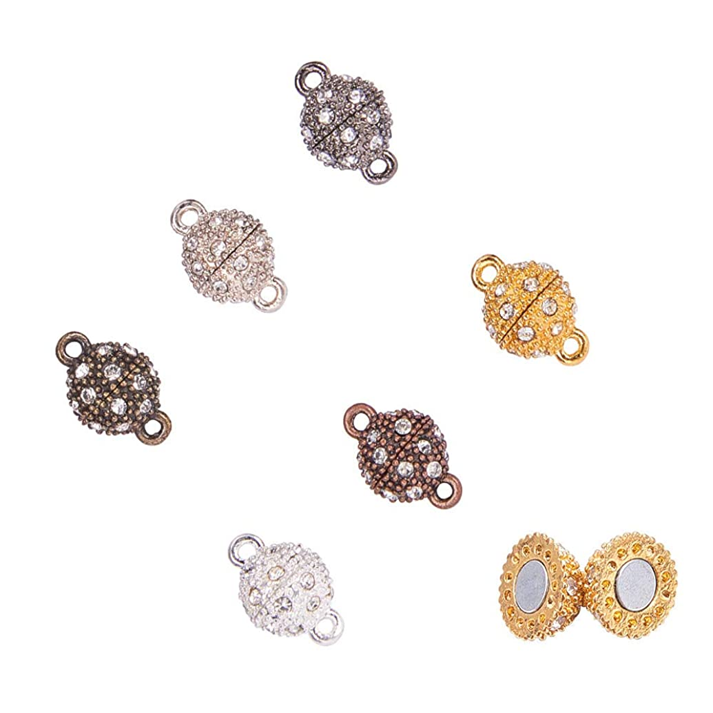 PH PandaHall 24 Sets 6 Color Rhinestone Ball Magnetic Beads Clasp Buckle for Bracelet Necklace Jewelry