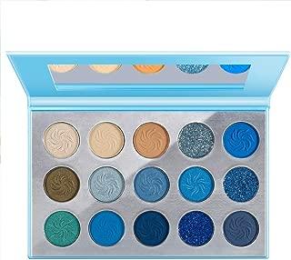 Space Blue Eyeshadow Palette DE'LANCI 15 Color Cosmetics Pressed Pigment Eyeshadow Palette Matte Shimmer Glitter Drama Makeup Eye Shadow Powder Long Lasting Waterproof Summer Eye Shadow Palette