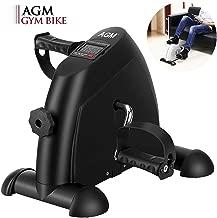 AGM Pedales Estaticos, Mini Bicicleta Estáticas, Ejercitador de Pedales, Máquinas de piernas para Entrenamiento de Brazos y Piernas Aparatos de Pedales, LCD Pantalla y Resistencia Ajustable (Negro)