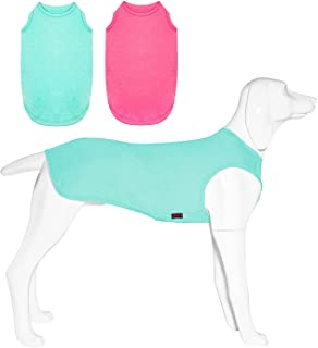 Kickred 2 Pack Summer Dog Shirts, Quick Dry Breathable Dog Clothes Pet Sleeveless Vest, Lightweight Stretchy Tank Top T-Sh...