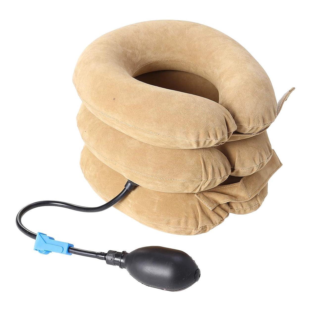 平均保有者ピンポンプ首のマッサージャーが付いている膨脹可能な頚部首の牽引つばの三層の装具の椎骨サポートベルト