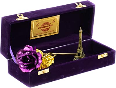 Lavanaya Silver Eiffel Tower with Gold Rose with Gift Box