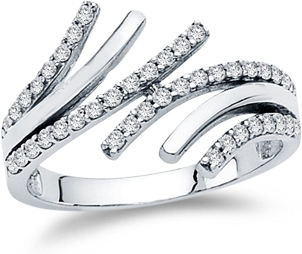 Solid 14k White Gold Fancy Right Hand Statement Ring, CZ Cubic Zirconia