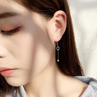 A&C Fashion Korean Version Chic Asymmetric Ear Line for Women. Unique Handmade Earrings Jewelry for Girl. (Silver Color)