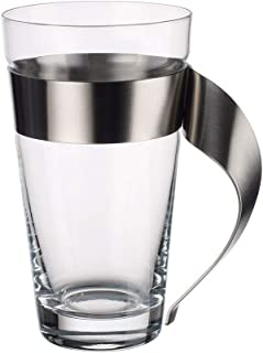 Villeroy & Boch, New Wave Latte Macchiato, Crystal Glass with Stainless Steel Handle, Dishwasher Safe Trendy Design, Clea...
