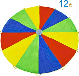 Rettebovon Parachute for Kids with 12 Handles Multi-Purpose Waterproof 12ft Play Parachute Toy Games for Team Games,You Can Also Use it for Picnic Mat and Furniture Cover