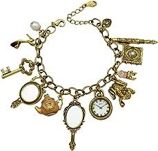 Q&Q Fashion Vintage Fairytale Charms Wonderland Style Frog Mirror Tea Party Chain Cuff Bangle Bracelet